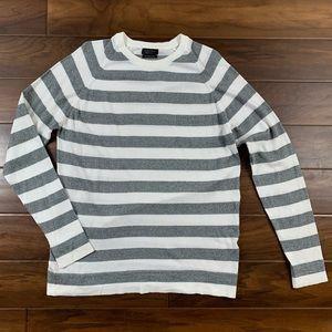 Zara Man White and Gray Striped Thin Knit Sweater